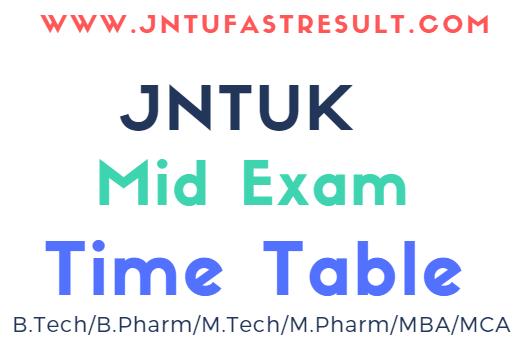 JNTUK Mid Exam Time Table 2019