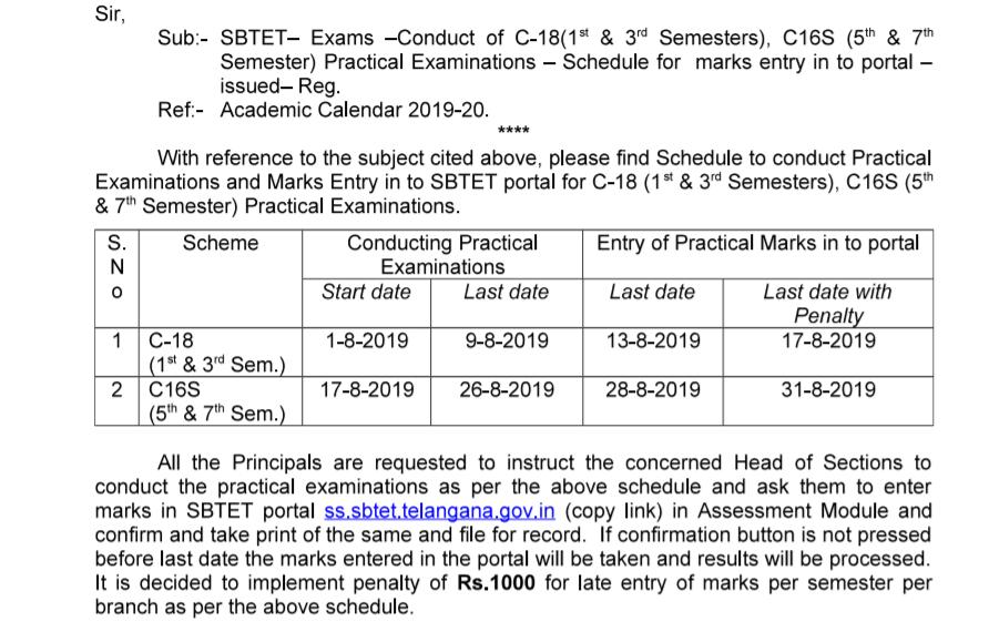 TS SBTETPractical exams Schedule 2019